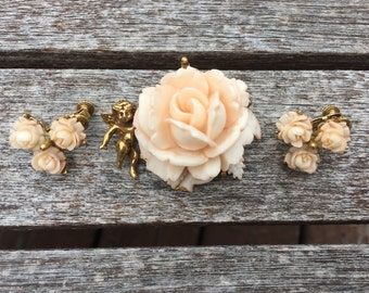 Vintage Pale Pink Rose and Gold Cupid Angel Brooch and Earring Set 0751