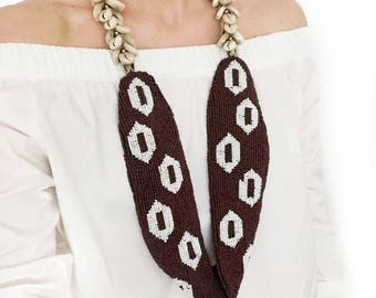 Calypso Beaded Necklace with Cowrie Shell Straps
