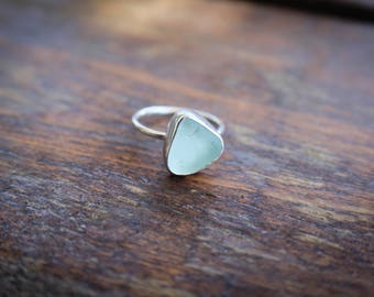 Blue Sea Glass Sterling Silver Stacking Ring Set, Individual Sea Glass Ring Sea Foam, Beachy Ring, Ocean Ring, Blue Ring
