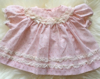 Vintage 60s pink rosebud and lace newborn baby girl dress