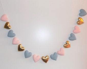 Felt heart banner -Felt heart garland - pink and gold garland - pink and gold nursery decor- adjustable garland