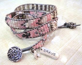 Handmade pink and silver triple wrap beaded bracelet