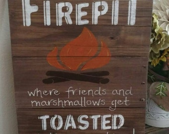 Welcome to our Firepit pallet sign.
