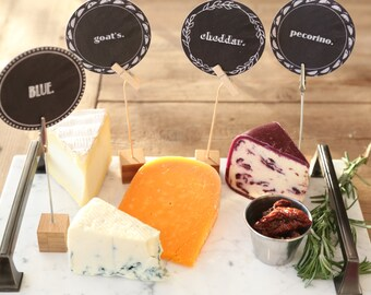 Cheese labels - Cheese tags - Cheese name tags - Entertaining, hors d'oeuvre parties