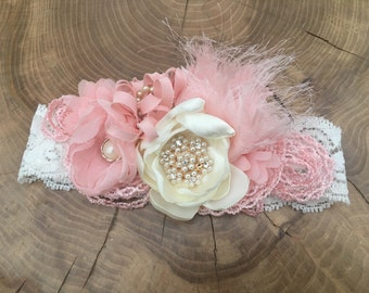 Handmade ivory pink fabric flower headband. Christening and Baptism headband, flower girl headband, Baby girl gift
