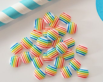Rainbow Striped Beads - Pack of 30