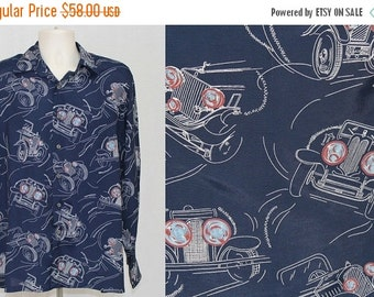 On Sale Vintage 70s Kennington Chemise ROLLS ROYCE Car Print Disco Retro Dress Shirt L