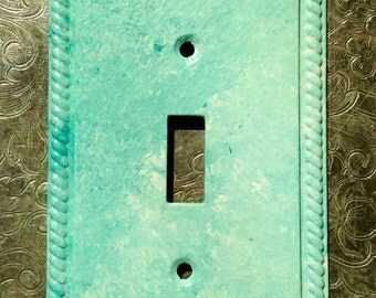 Aqua Switchplate - Painted Metal Switch plate - Painted Switchplate - Teal switchplate - Turquoise Switch plate - Upcycled Switchplate
