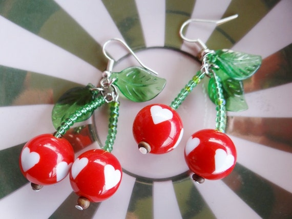 Cherry Earrings Cherries Retro Vintage Pinup Pin Up Rockabilly Polka Dot Spot Dotted Spotty Hearts Hot Rod Rock & Roll Swing