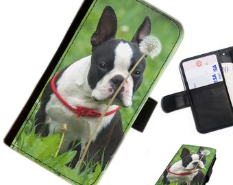DOGA 06 Boston Terrier Leather pu wallet phone case for Apple iPhone, Nokia Lumia, Blackberry, Huawei, Alcatel, ZTE ZMax, HTC, OnePlus