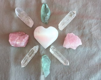 Crystal Grid Set charged w/ Reiki / Love Crystals Grid for Protection