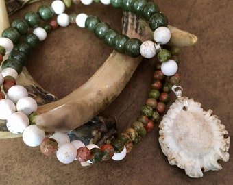 Green and White Antler Burr Necklace