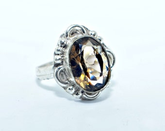 Smoky topaz ring Victorian style oval cut faceted quartz gemstone ring smokey topaz size 8.5 sterling silver plated quit smoking stone