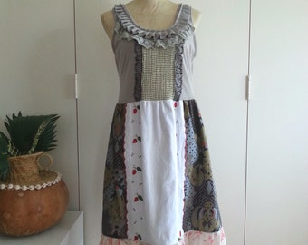 Upcycled Dress - tic Garden Tea Party Dress, Grey, Red, White, Vintage Materials - Small