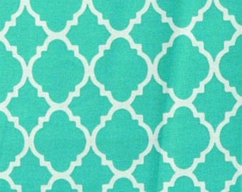 Modern Turquoise Quatrefoil 100% Cotton Fabric, Fat Quarter, 1/4 yard, 1/2 yard, 3/4 yard, 1 yard/Quilting Fabric/Baby Blanket Fabric