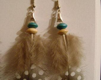 Hen feather earring