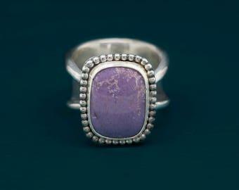 Sterling Silver oxidised Purple Jasper ring