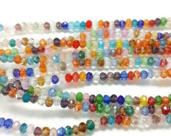 100 2x3mm rainbow faceted glass beads, Suncatcher Beads, Spacer Bead, rondelle beads, R29