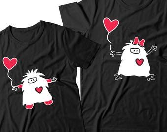 Couple T-shirts - Monsters Love - Original Gift - Best Lovely Matching Couple T-shirts