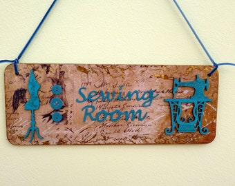 Sewing room sign vintage sewing machine & mannequin
