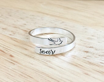 Sterling Silver Bird Ring - Wrap Ring - Sparrow Ring - Sterling Silver Ring - Hand Stamped Ring - Bird Ring - Inspirational Jewery - Grad