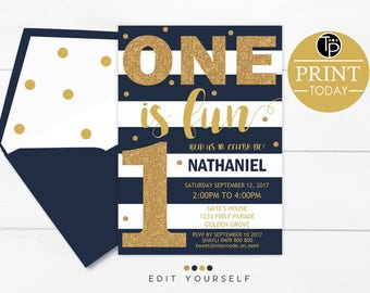 BOY 1st Birthday INVITATION, Instant Download, Navy Gold 1st Birthday Invitation, Boy First Birthday Invitation, Navy Stripes Boy Invitation