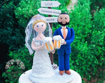 PersonalizedBeer and Travel Wedding Cake Topper
