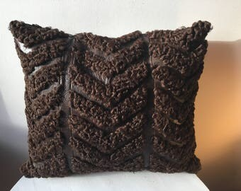 Mounton of Persia and Brown recycled leather cushion