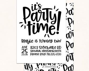 Party Time Invitation / Party Invitation / Digital / Monochrome Birthday Invitation / Monochrome Party Invite / Monochrome Invitation