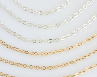 14k Gold Fill Chain, Sterling Silver Replacement Chain,Dainty Chain for Charm or Bar Necklace, Simple Chain Necklace, LEILAJewelryshop, N226