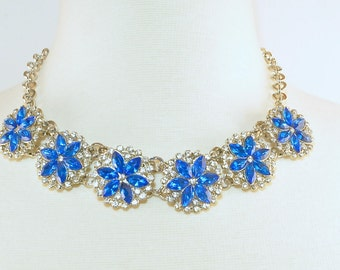 Flower burst Sapphire blue and crystal statement necklace