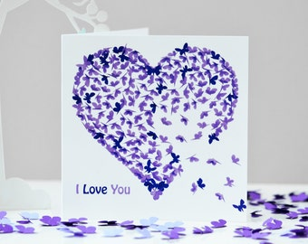 Purple I Love You Heart Card, Romantic Valentines card, Butterfly Valentines Card, Valentines Day Card, Romantic Birthday Card,