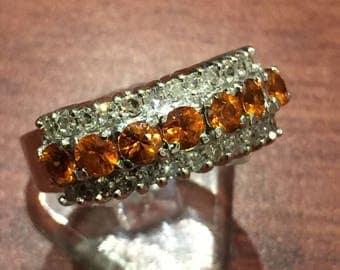 Golden Citrin and Diamond Dress Ring in 18K White Gold