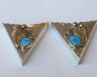 Vintage Sterling Silver with Gold Applique  Flower Turquoise  Collar Tips