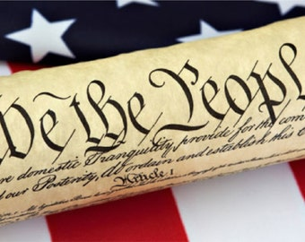 We The People United States Constitution American Flag Bumper Sticker Decal