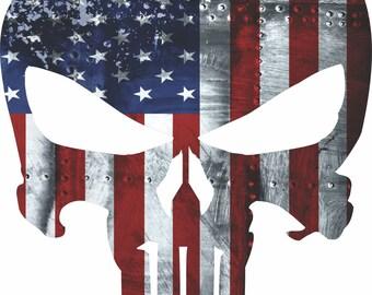 Punisher American Flag Vinyl Sticker 4 different sizes