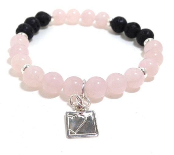 Rose Quartz Lava Bead Diffuser Bracelet- Essential Oil- Diffuser Aromatherapy - Lava Bead Essential Oil Diffuser Bracelet with Om charm