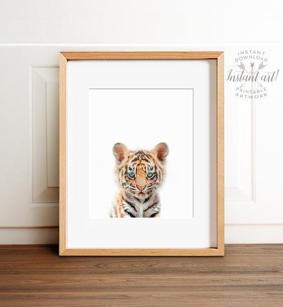 Baby tiger print, Safari animal prints, PRINTABLE nursery art, Safari nursery decor, Tiger cub, Safari animals, Nursery wall art, Animals