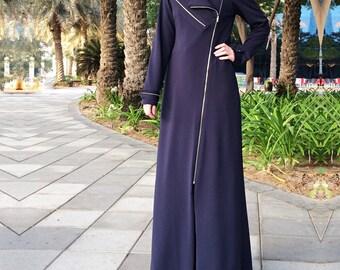 Zippers Jersey Abaya - Navy Blue / Blue Jersey Abaya / Abaya with Belt / Plus Size Abaya / Abaya with Zipper / Open Front Abaya/ Dubai Abaya