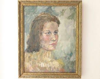 Portrait of a Woman Original Vintage Oil Painting Framed