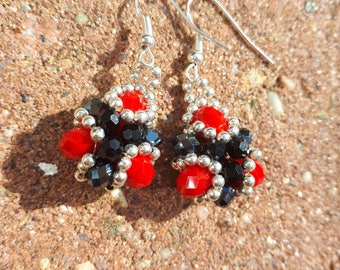Black and red baroque earrings with silver seed beads