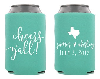 Cheers Y'all Wedding Can Cooler, Personalized Wedding Can Cooler, Custom Wedding Can Cooler, Wedding Favor, Rehersal Dinner,Cheers Yall