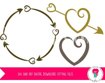 Tribal Circle, Heart Arrow, and Heart SVG / DXF Cutting Files For Cricut Explore / Silhouette Cameo & PNG Clipart, Digital Download