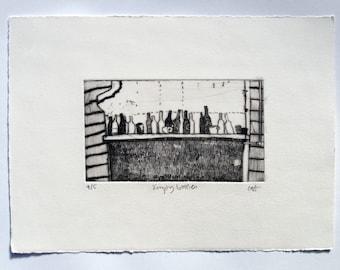 Empty Bottles - drypoint etching