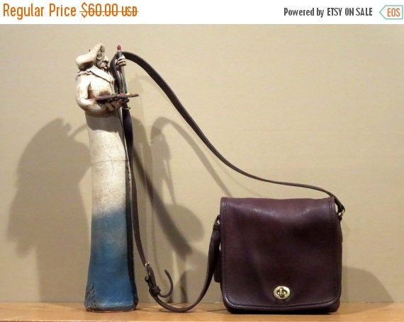 Football Days Sale Coach Leather Companion Flap With Cross Body Strap No 9076 In Mocha (Mahogany?) Leather -VGC