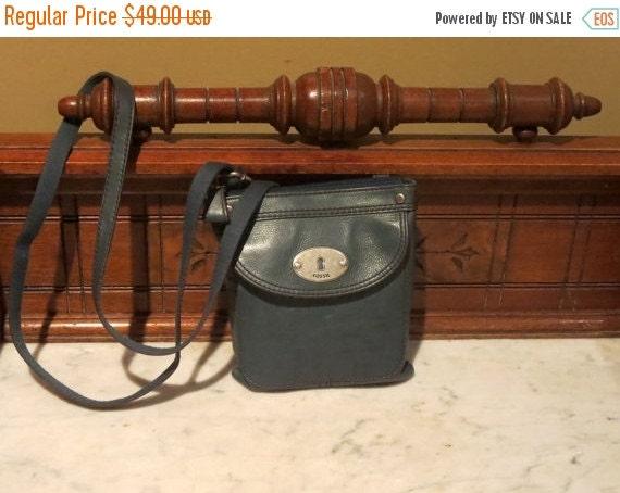 Football Days Sale Vintage Fossil Teal Blue Leather Crossbody Satchel Shoulder Bag