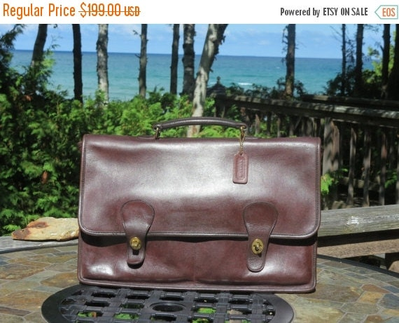 Football Days Sale Coach Diplomat Style Burgundy (Mocha?) Leather Briefcase Attache IPad Laptop Case- New York Bag- Made In USA- Very Good C