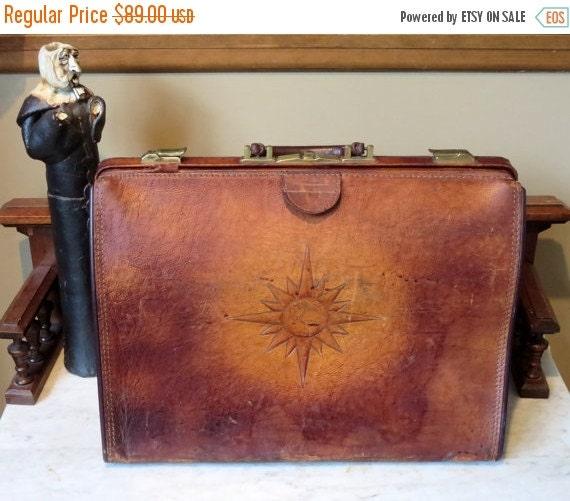 Football Days Sale Vintage Gladstone Style  Brown Leather Briefcase With Sun Rising Behind Earth Tooled On To Side- Unique Bag