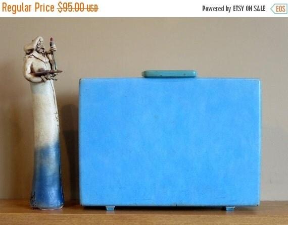 Football Days Sale Vintage Samsonite Baby Blue Hard Shell Briefcase Attache - Rare Retro