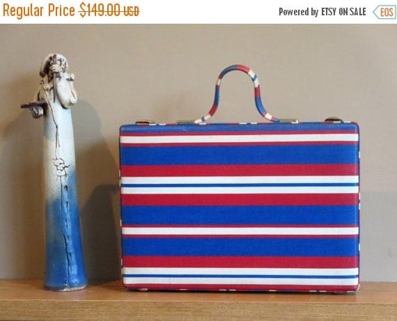 Football Days Sale Red White And Blue Print Princess Grace Briefcase With Red Heart FOB & Original Keys- A Rare Piece In Very Good To Excell